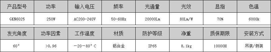 GKN6025投光燈具參數